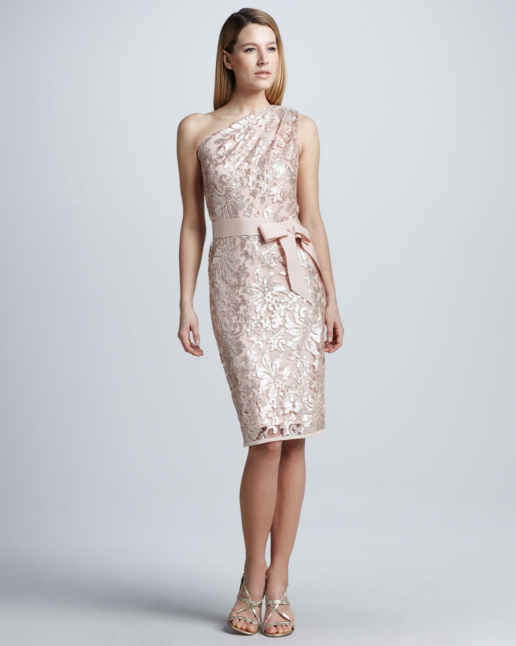 Blush Pink MOB dress with crushed velvet embroidery