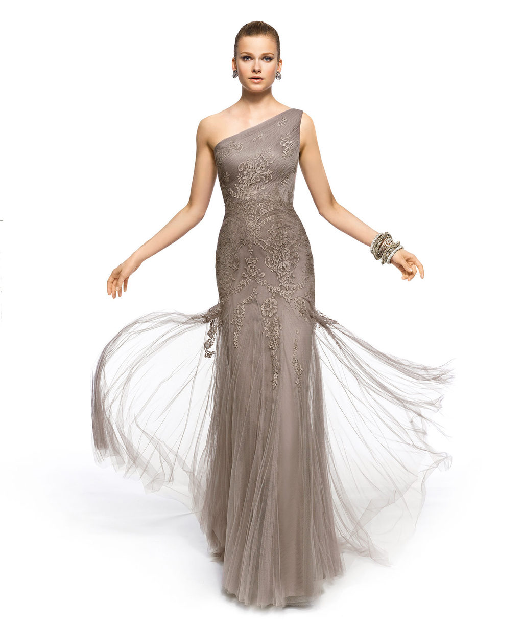 Beige one shoulder gown with lace applique for MOB or bridesmaids