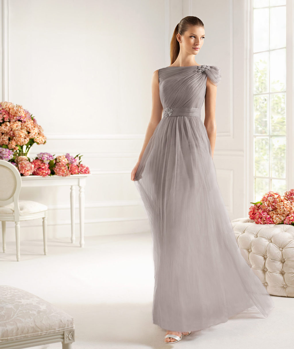 Taupe MOB evening gown chiffon