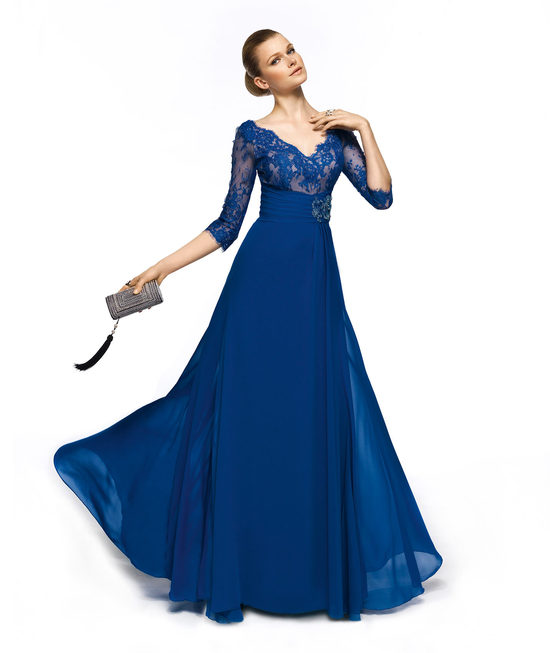 blue evening gown for the MOB sheer lace sleeves