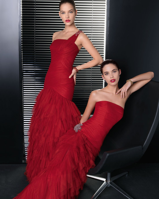 Red pleated bridesmaid dresses by Rosa Clara