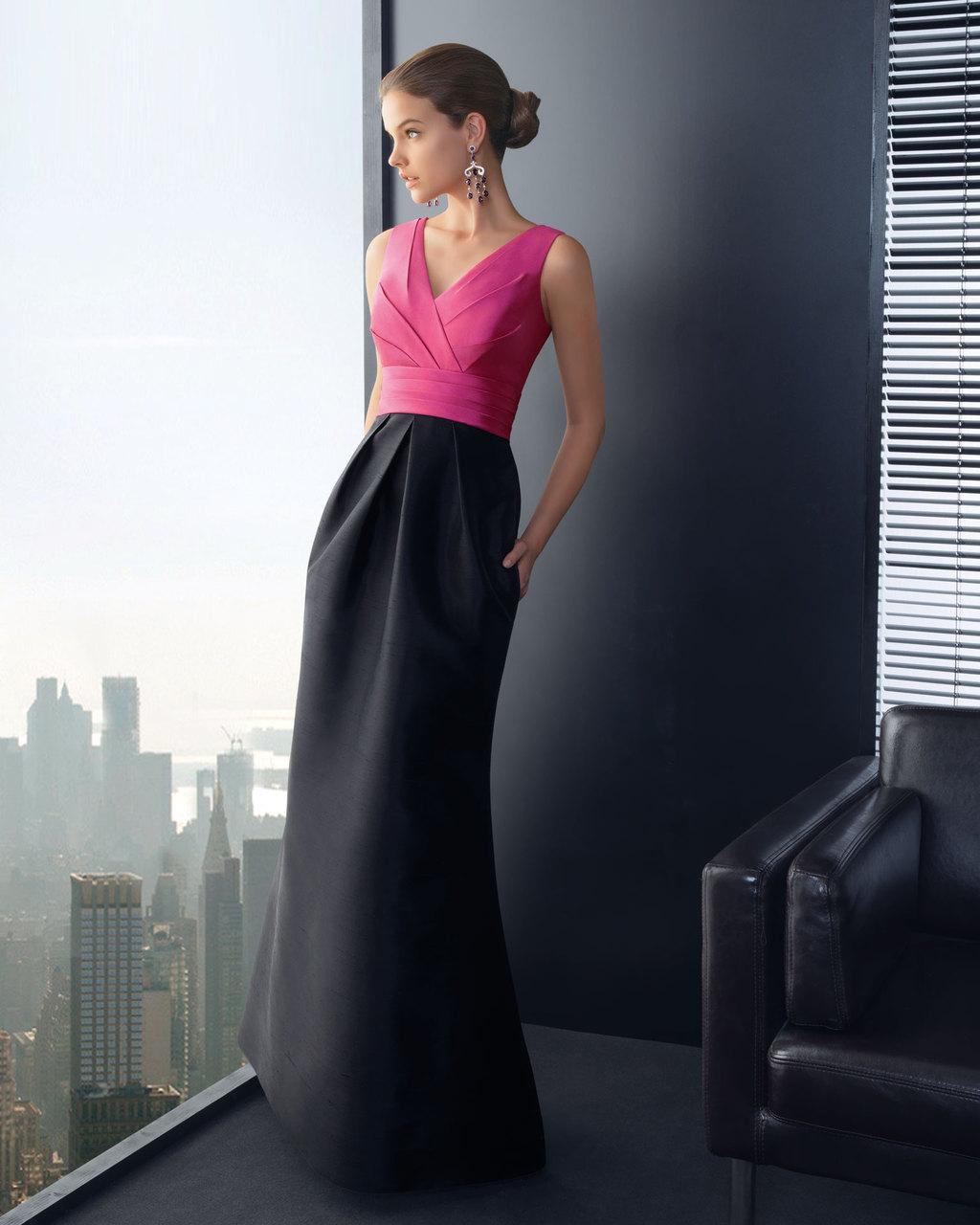 Pink-and-black-long-bridesmaid-dress.full