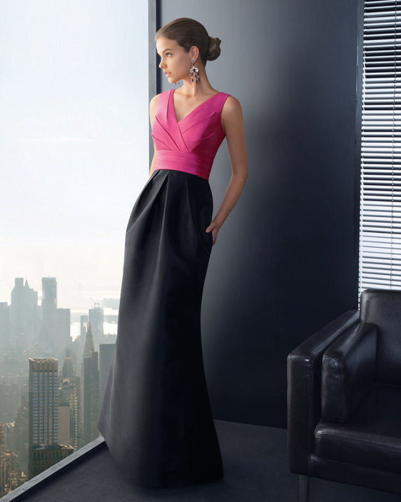 Pink and black long dress