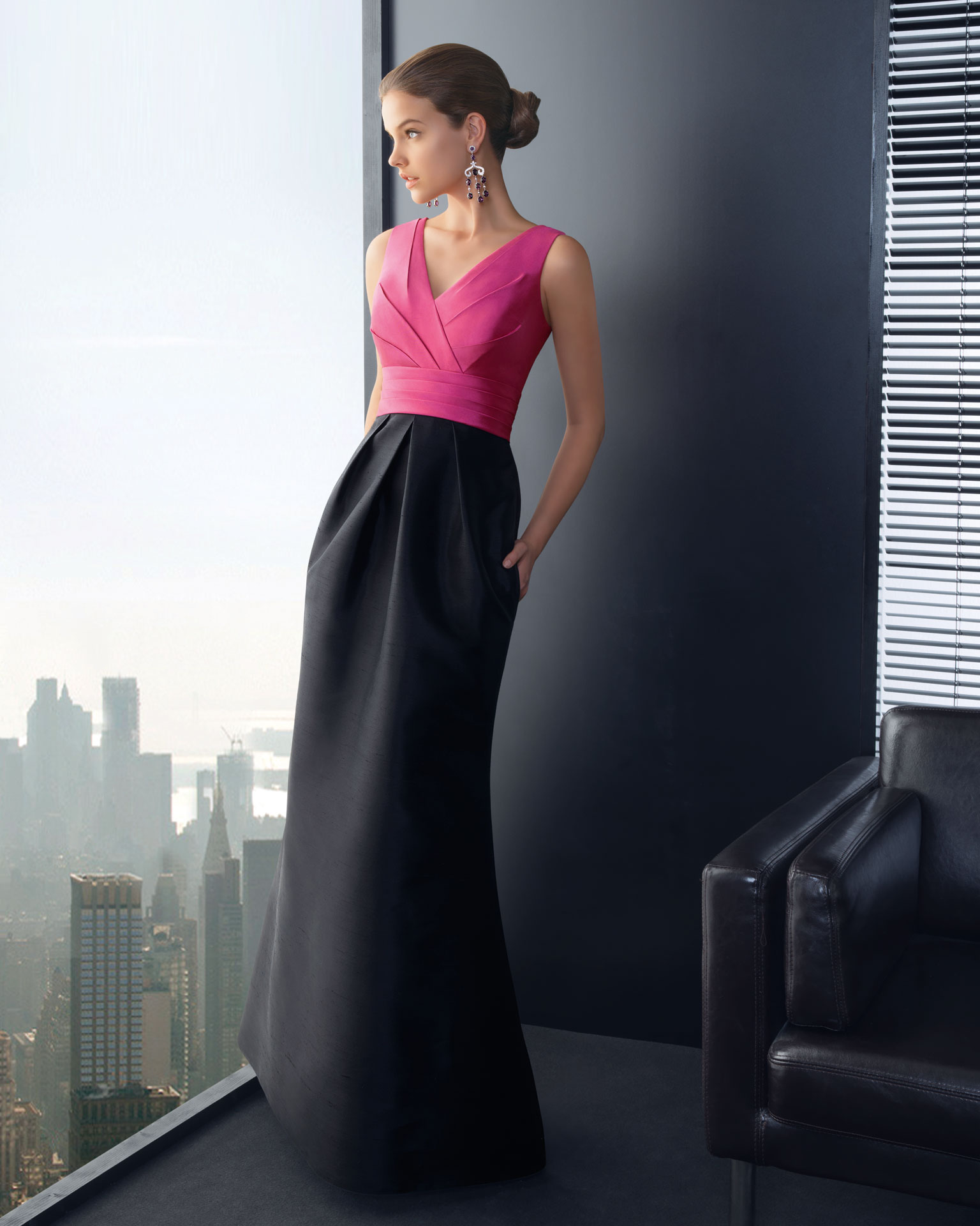 Pink and black long bridesmaid dress for Black and pink wedding dress