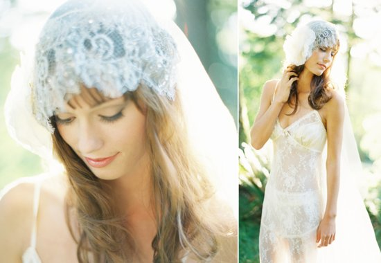 Lace Juliet Cap for Romantic Brides