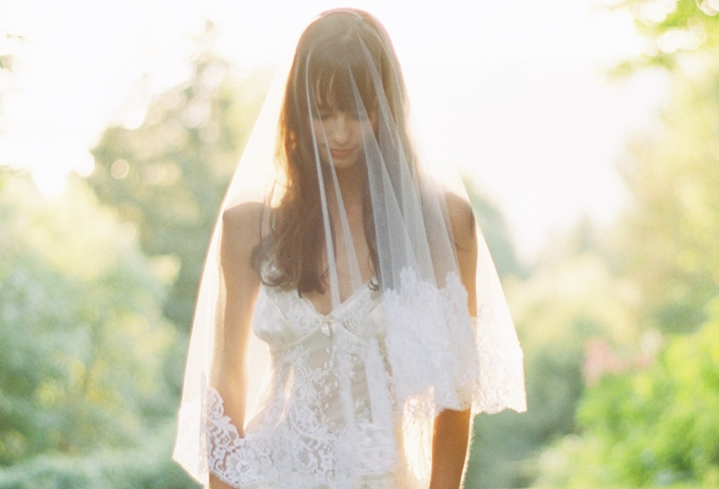 sheer bridal veil trimmed with chantilly lace
