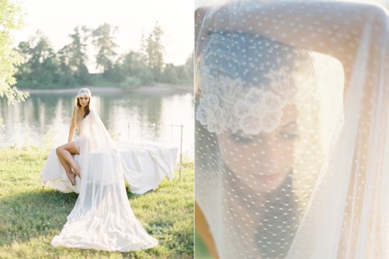 Beautiful swiss dot and lace cathedral bridal veil
