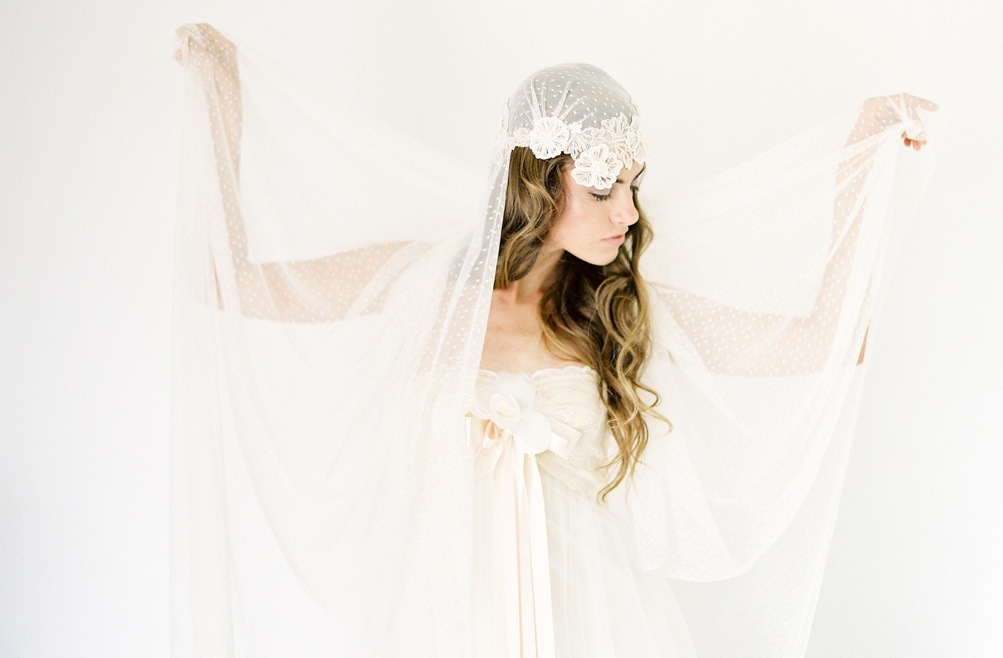 Ivory lace and swiss dot wedding veil