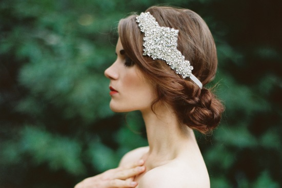 Vintage inspired bridal headband with elegant beading crystals