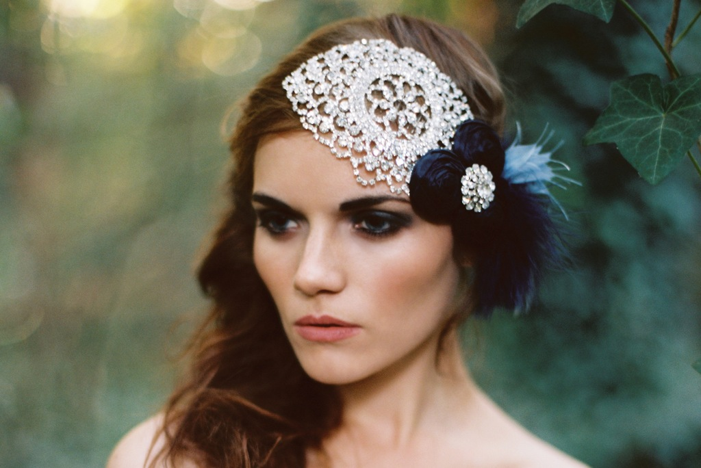 Beautiful crystal bridal headpiece with something blue rosettes and feathers