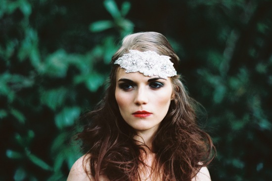 Beaded bridal headpiece with silk flowers