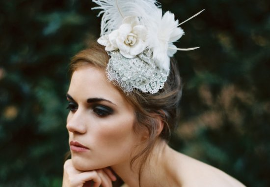 Gray lace and ivory feathers wedding headpiece