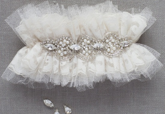 Ivory tulle wedding garters with crystals