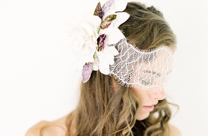 Lace and floral bridal head chic partial veil