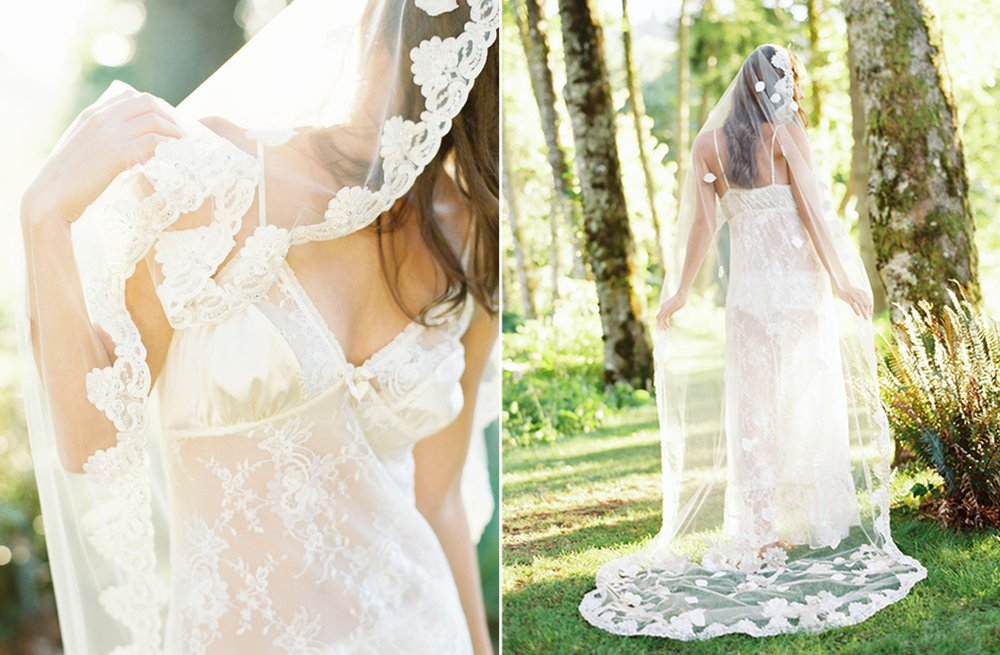Floor length floral embellished bridal veil