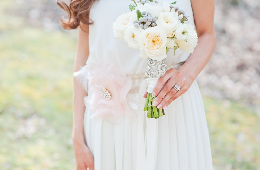 Luxe wedding accessories and bouquet wraps by Emily Riggs