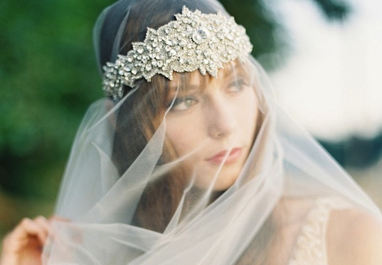 Tulle wedding veil with crystal encrusted tiara