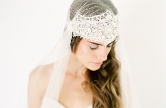 Silk tulle bridal cap with crystals