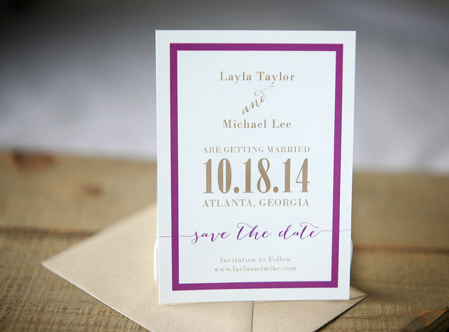 White-wedding-save-the-date-with-purple-and-beige.full