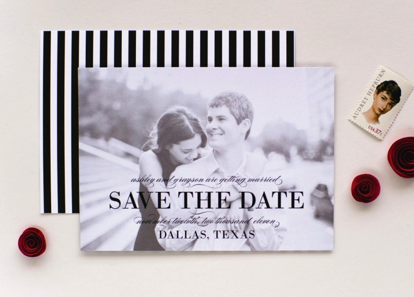 Black and white photo wedding save the date