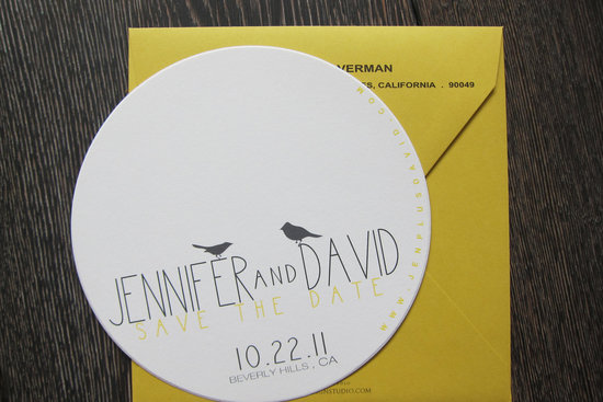 Modern round save the date love birds