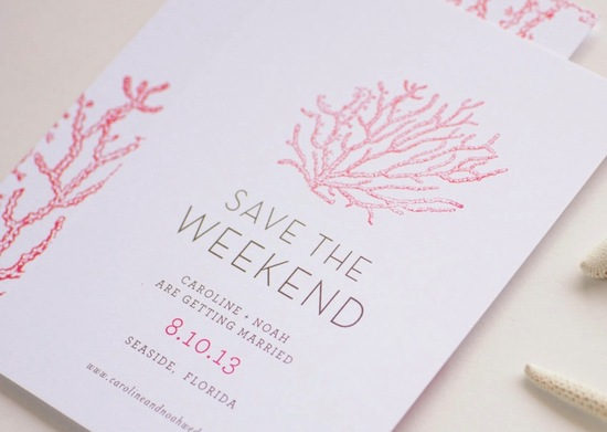 Elegant beach wedding save the date coral