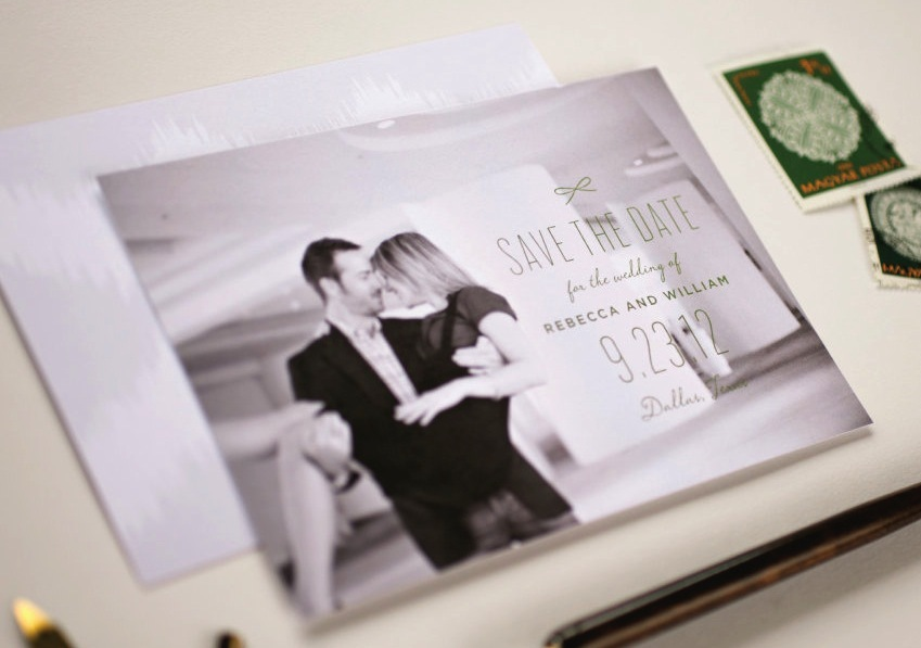 Romantic wedding save the date with couples engagement photo