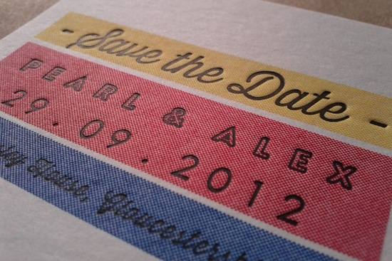 Primary colors wedding save the date