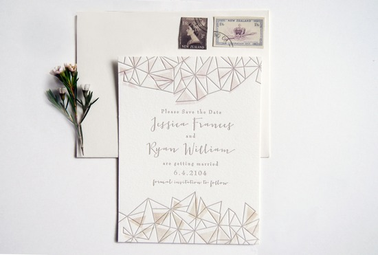 Romantic modern triangle wedding save the date