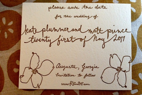 whimsical calligraphy wedding save the date