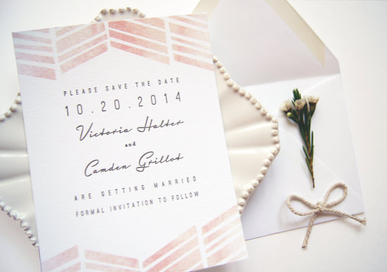 Ombre watercolor romantic wedding save the date