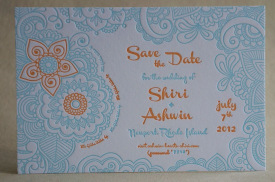 Turquoise orange white wedding save the date