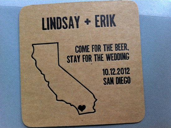 Kraft paper coaster wedding save the date