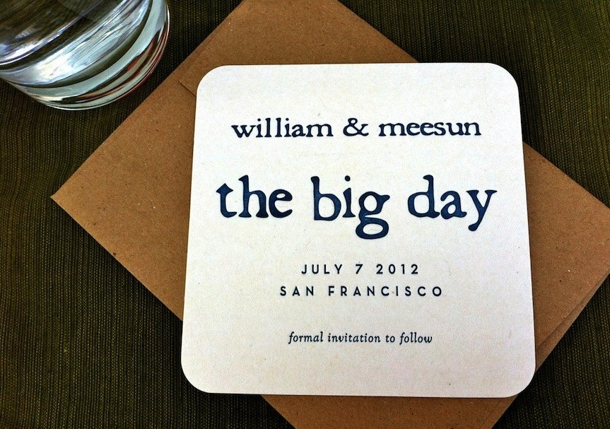 Humorous wedding save the date The Big Day coasters