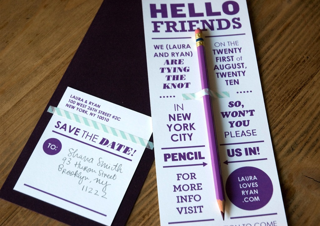 bold modern wedding save the date Pencil Us In