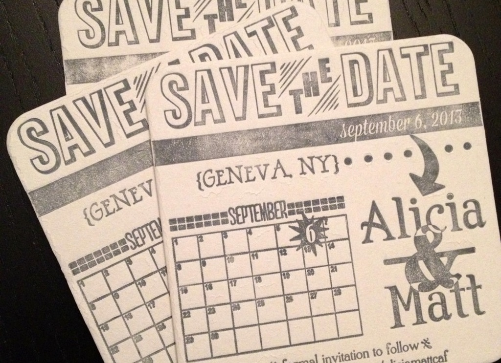 vintage coaster wedding save the date