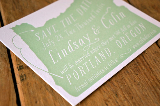 State inspired wedding save the date celery and white