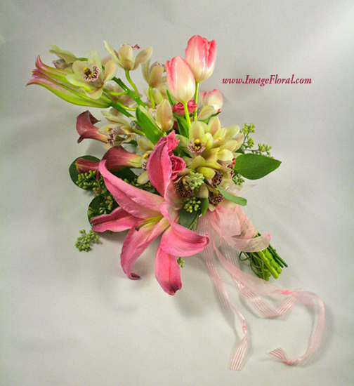 pink calla orchid lily rose bouquet, side 2