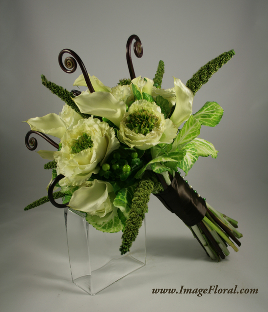 green ivory brown callas kale roses berries fern curls bouquet