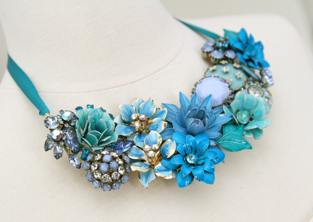 Something Blue Statement Necklace with Vintage Brooches