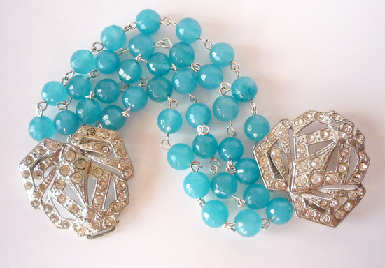 Vintage something blue art deco wedding bracelet