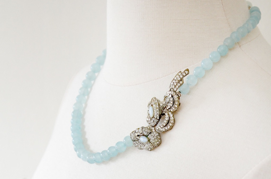 Vintage wedding necklace something blue with crystals