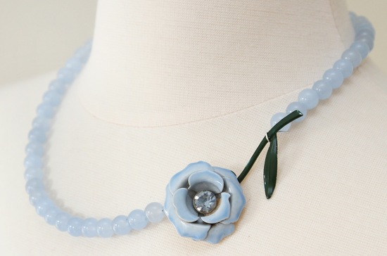 Something blue simple bridal necklace