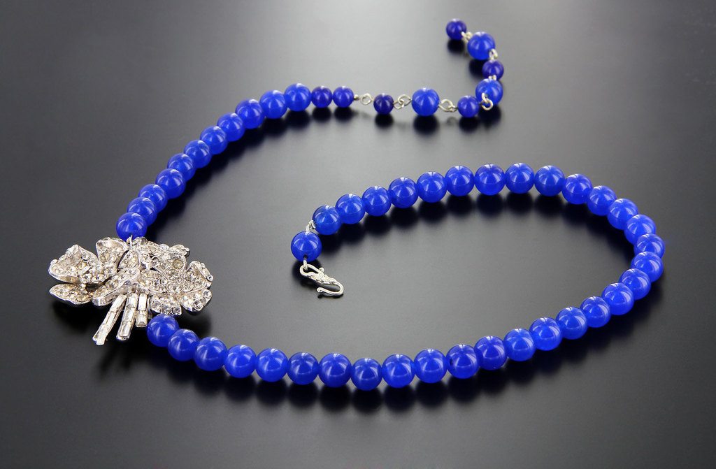Cobalt blue wedding necklace with crystal brooch