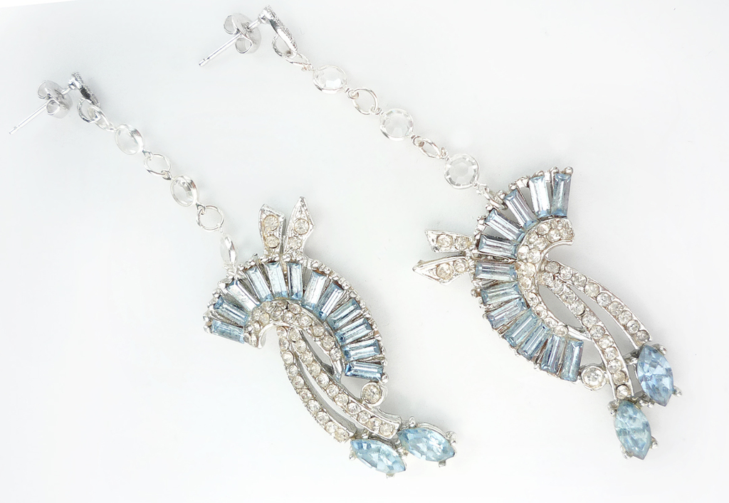 Art deco inspired bridal earrings pastel blue stones