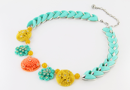 Bright turquoise wedding necklace with yellow peach accents