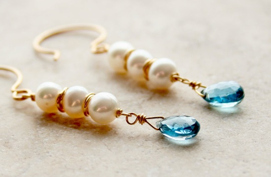 elegant gold pearl blue topaz wedding earrings