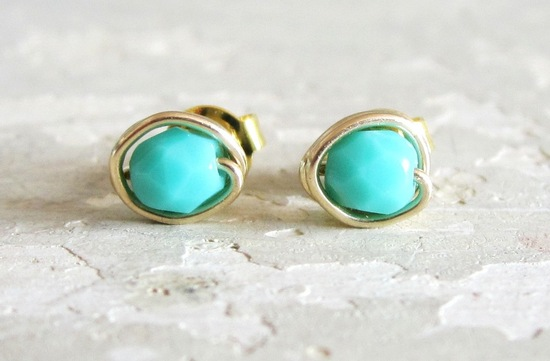 turquoise and gold wedding earrings