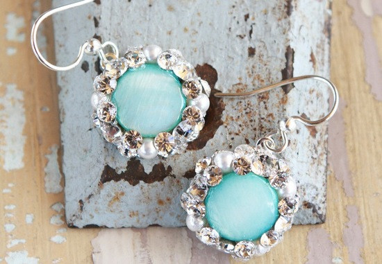 Aqua and crystal delicate wedding earrings