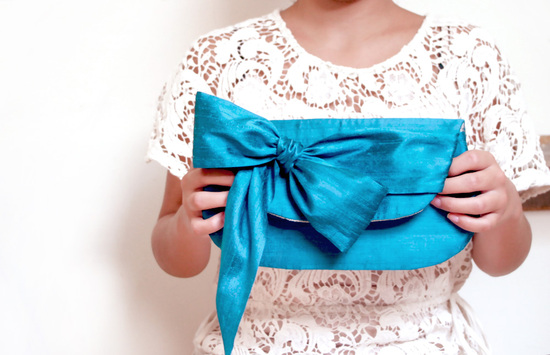 Blue wedding day clutch with big bow